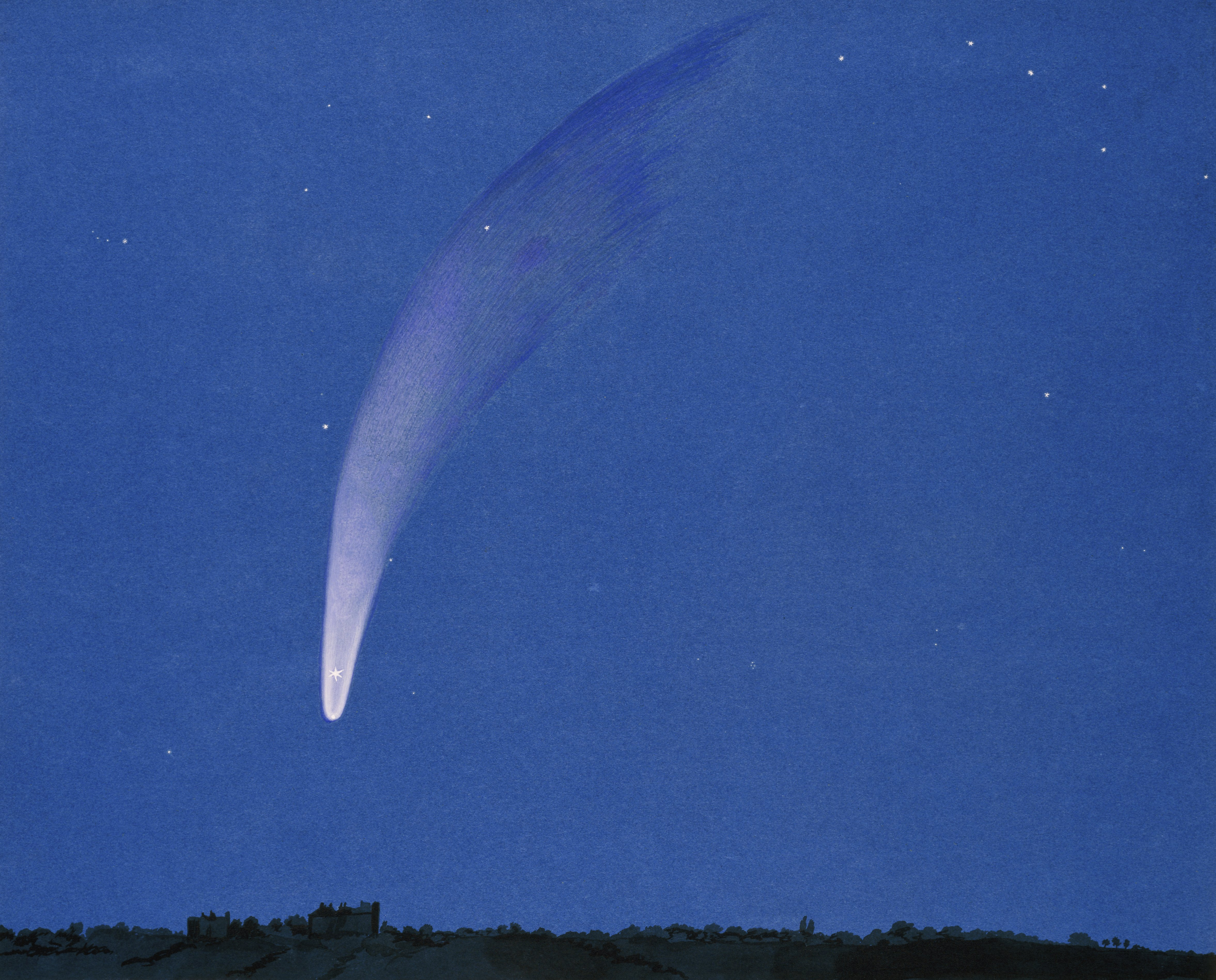 Watercolour painting of Donati's comet by J.W. Griesbach (1858).