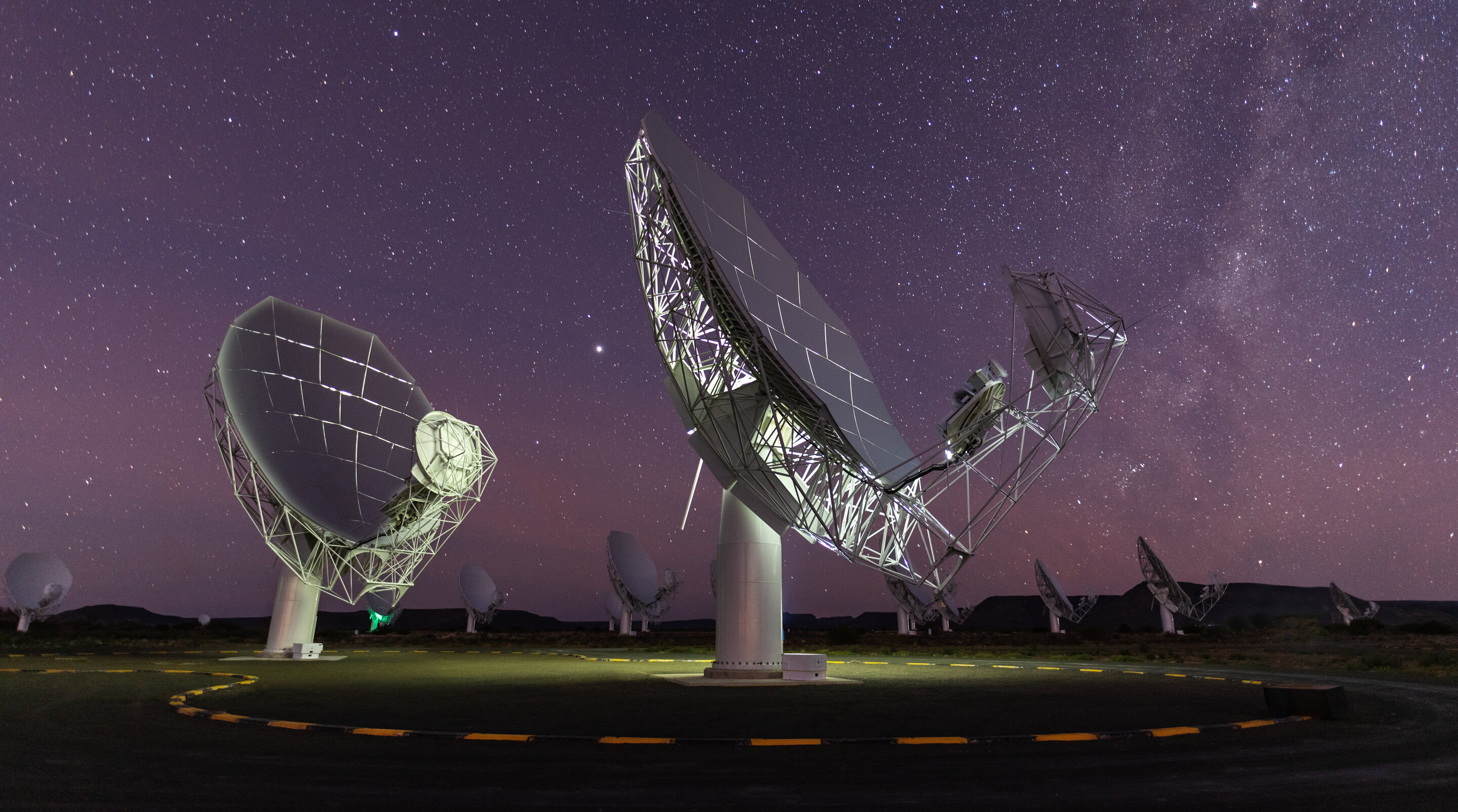 Photograph of the MeerKAT telescope in South Africa