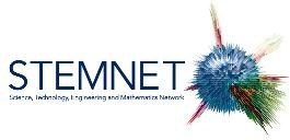 STEMNET logo with the words and an exploding atom picture