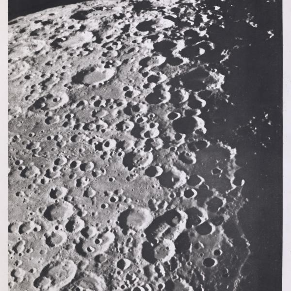 Photogravure of the Moon showing the craters Boussingault, Vlacq and Maurolycus