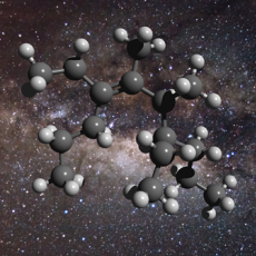 An illustration of the structure of a greasy carbon molecule, set against an image of the galactic centre, where this material has been detected.