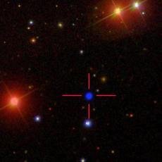 Colour image of the white dwarf GALEXJ014636.8+323615 from the Sloan Digital Sky Survey. Credit: Sloan Digital Sky Survey