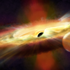 Artist's impression of outflow from black hole J1 357