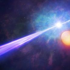 Artist's impression of gamma-ray burst with orbiting binary star