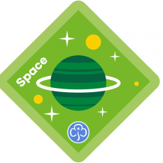 Brownie space badge co-created with the RAS, UKSA and Girlguiding