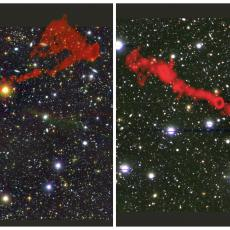 Image of two radio galaxies overlaid on an optical image of the sky.