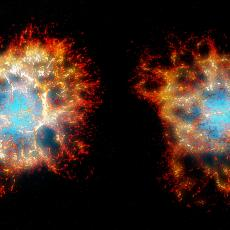 Two views of a 3D reconstruction of the Crab nebula