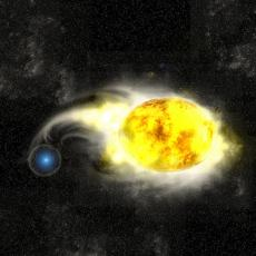 Artist's impression of a small blue star accreting material from its much larger yellow binary companion