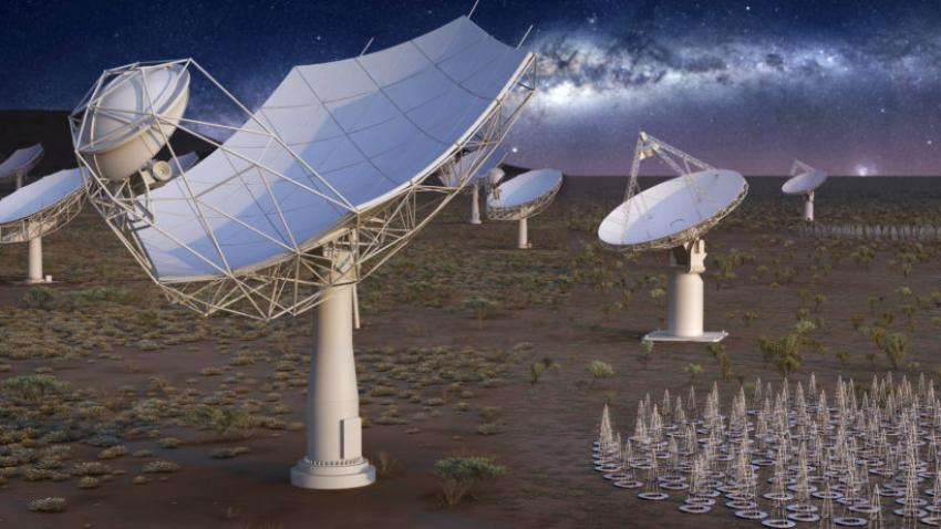 An artist's impression of the full Square Kilometre Array at night