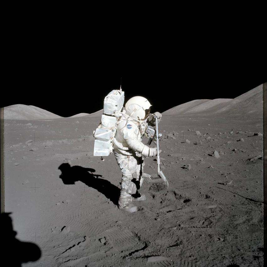 sample collecting on the moon