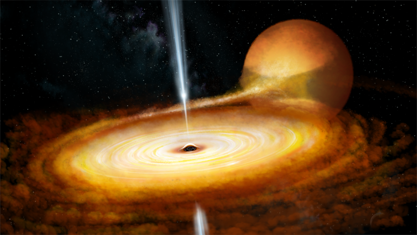 An artist's impression of the black hole system MAXI J1820+070