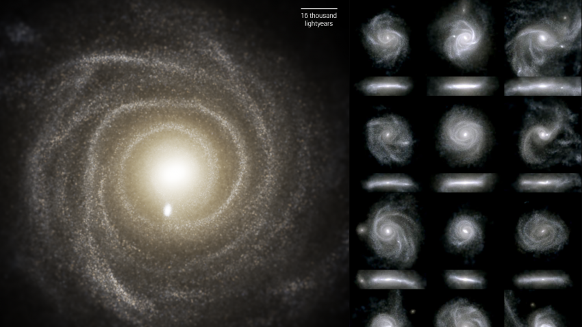Images of 16 galaxies from the TNG50 simulation