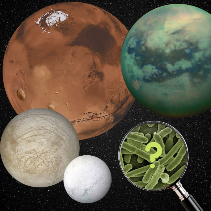 Four celestial objects like Mars and Titan with a magnifying glass looking at microbes.