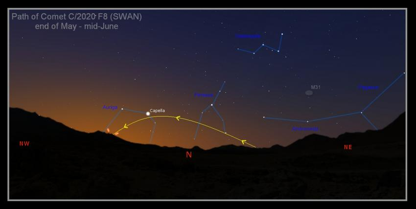 Finder chart for comet SWAN in the evening sky from May to mid-June 2020