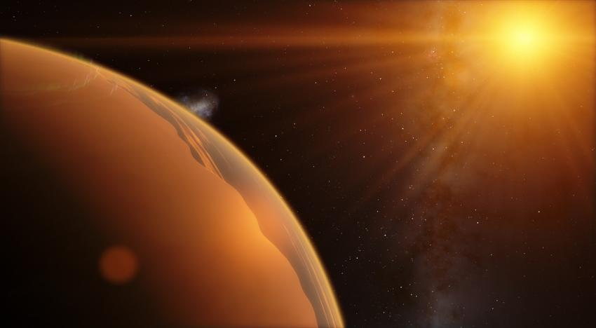 Artist's impression of an exoplanet with its sun in the background