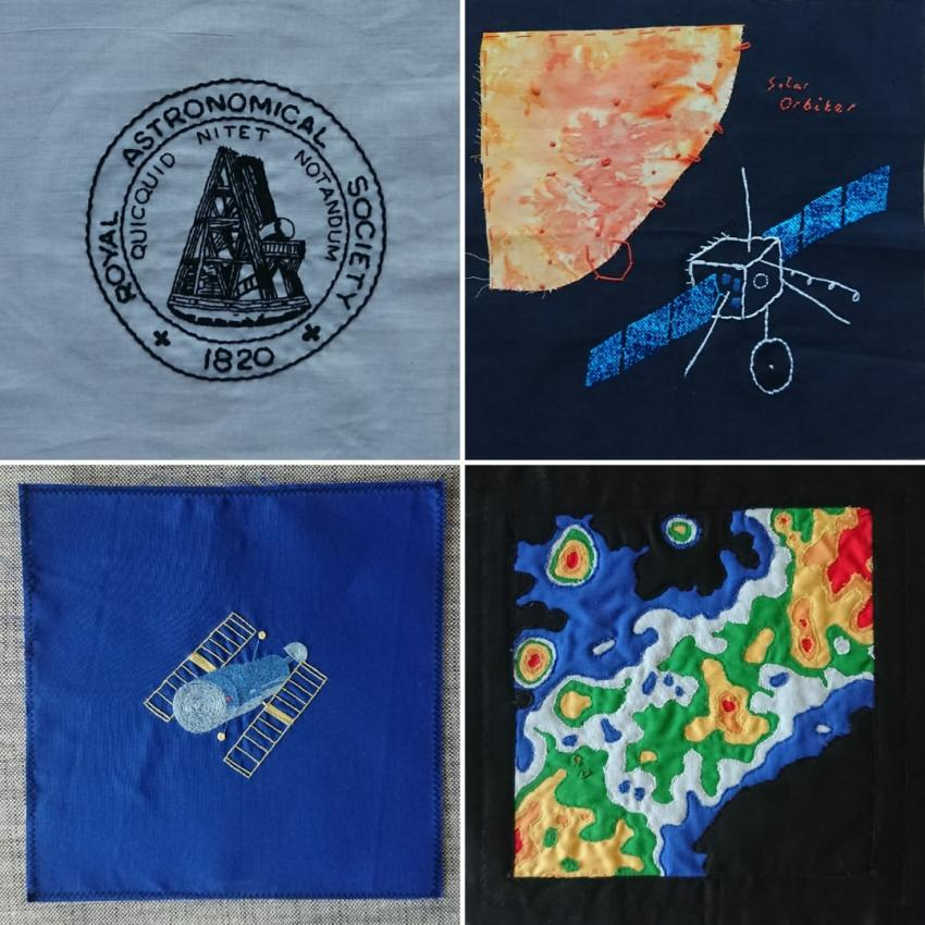 Four fabric squares with astronomical and geophysical themes.