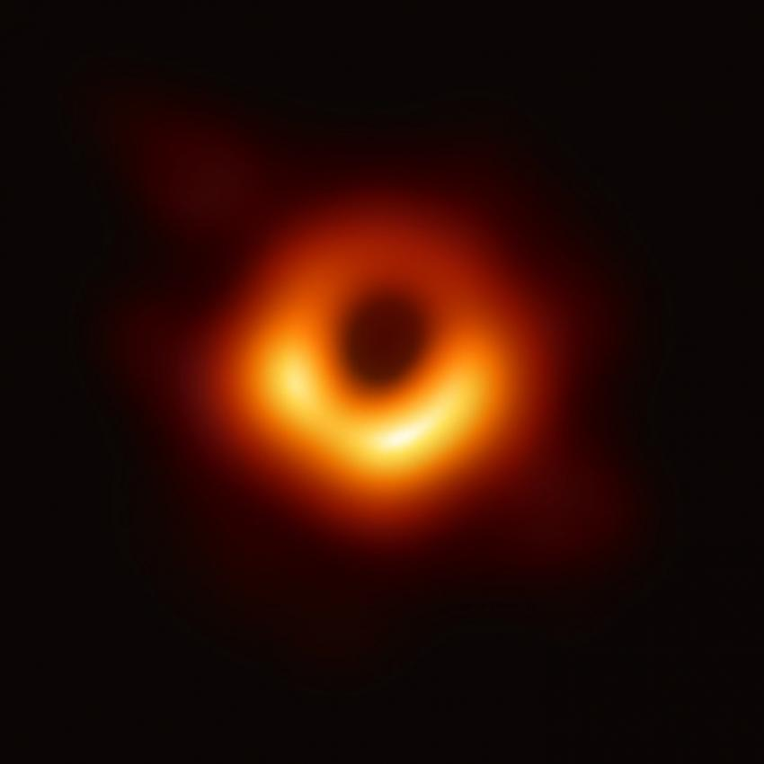 The supermassive black hole at the core of supergiant elliptical galaxy Messier 87, with a mass about 7 billion times that of the Sun,[15] as depicted in the first image released by the Event Horizon Telescope (10 April 2019)