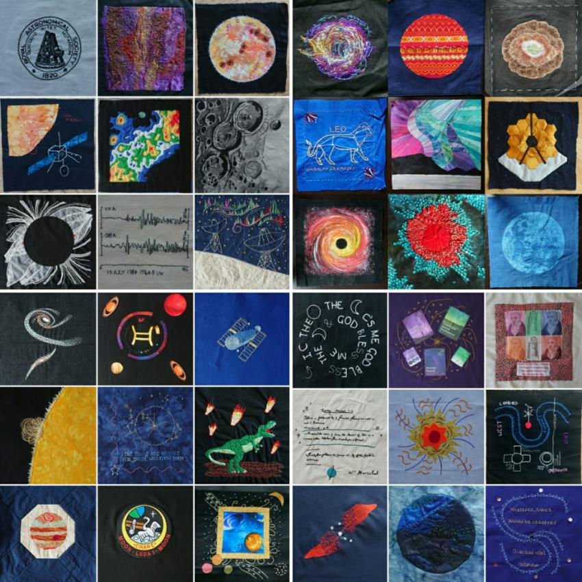 Patchwork squares with astronomical and geophysical themes.