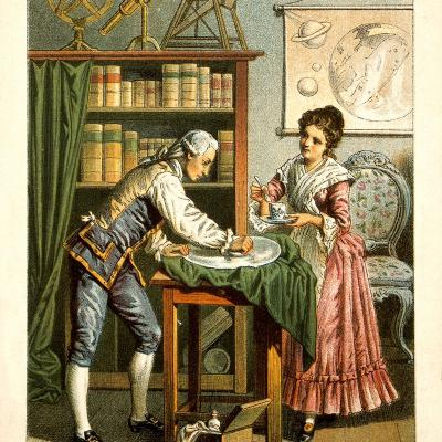 Caroline and William Herschel, professional astronomers.