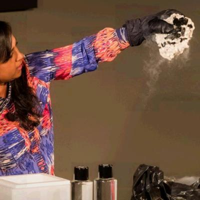 Teacher Sheila Kanani creates a comet from dry ice