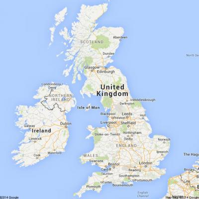 Map of the UK. Google 2012.