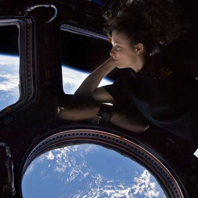 Tracey Caldwell Dyson in the Cupola of the ISS