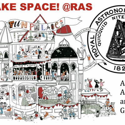 An image of Fun Palaces logo combined with RAS logo to make Make Space! @RAS event
